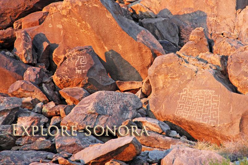 Ancient rock art petroglyphs near the city of Caborca, Mexico
