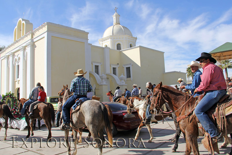 Cabalgata arrives at the church in Altar, Sonora, Mexico