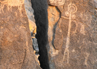 human and animal form petroglpyhs near Caborca, Sonora