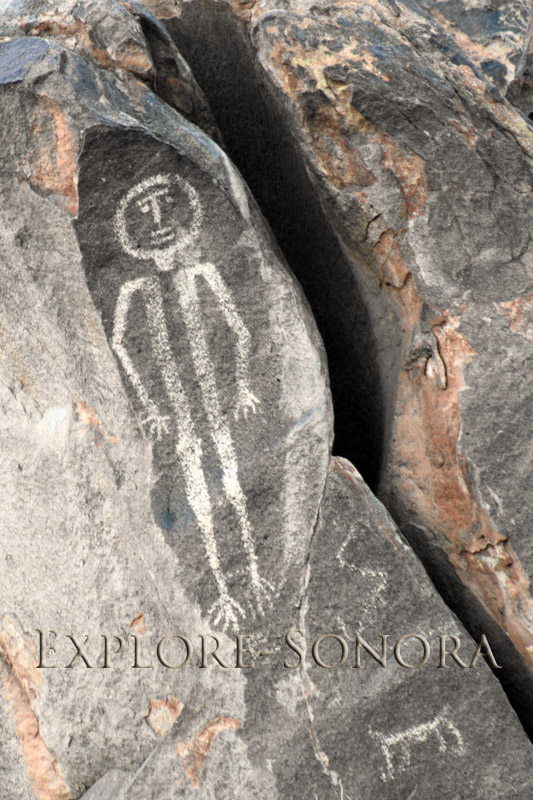A petroglyph that represents a human form, near Caborca, Sonora