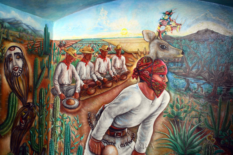 This mural in the palacio municipal honors the Yaqui heritage of Huatabampo, Sonora