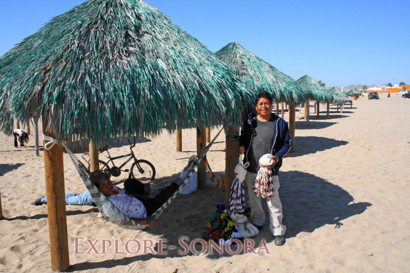 Selling hammocks on the beach at Kino Bay, Sonora