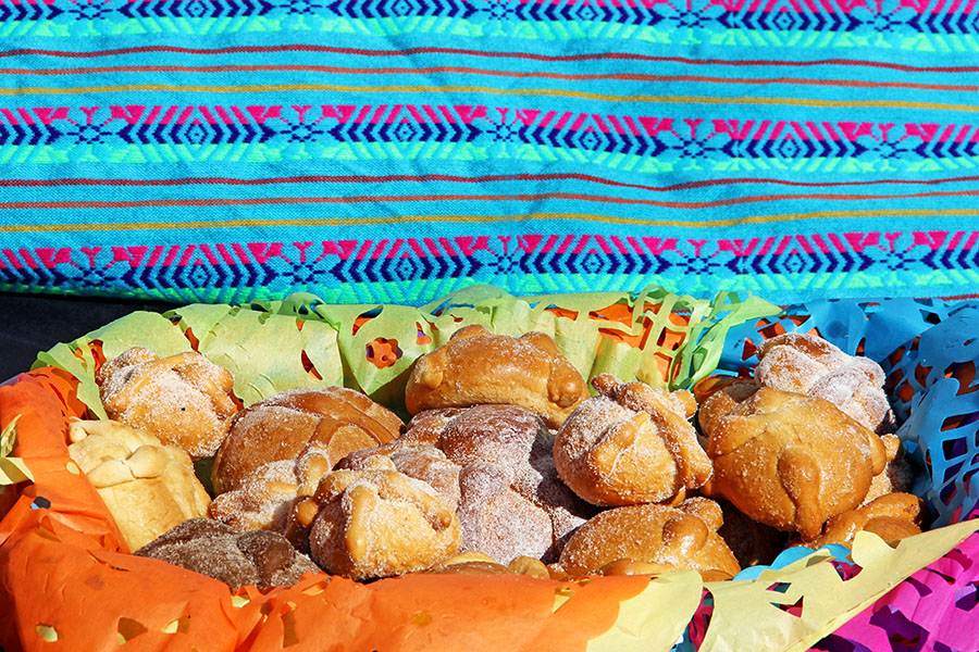 Pan de muerto - bread of the dead - on a Day of the Dead altar