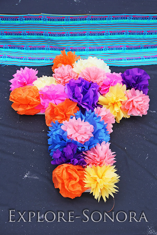 Traditional elements of a day of the dead altar explore sonora a cross of paper flowers on a day of the dead altar mightylinksfo Choice Image