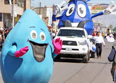 water conservation floats at Caborca fiestas parade