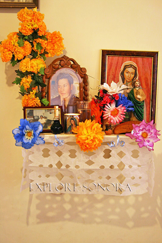 A traditional altar in a Sonoran home to remember and honor the departed
