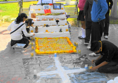 caborca students make a day of the dead altar