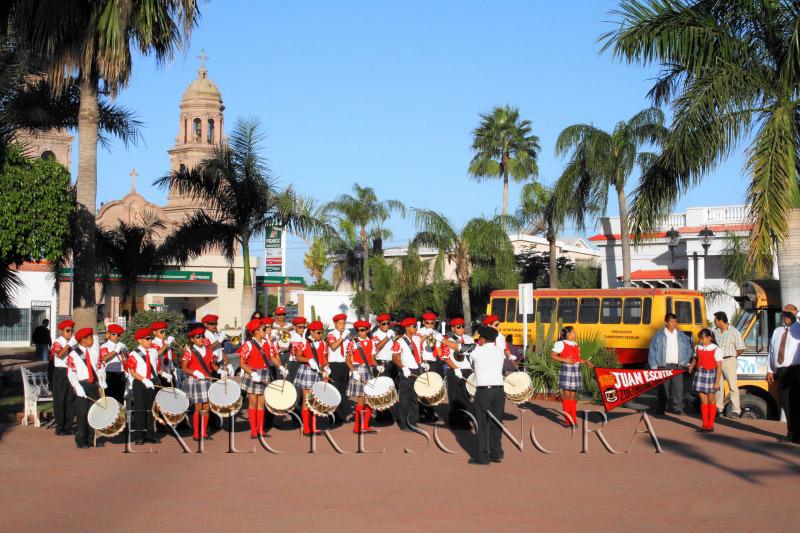 Student band performance in Plaza Cinco de Mayo - Navojoa, Sonora, Mexico