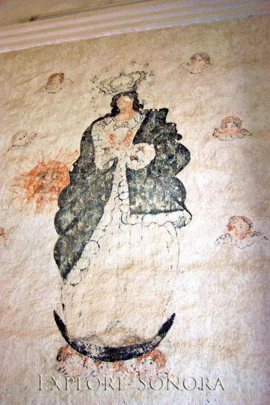 Painted fresco in the Iglesia San Diego de Pitiquito in Pitiquito, Sonora