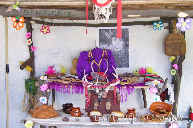 A traditional Yaqui ofrenda, altar for Day of the Dead