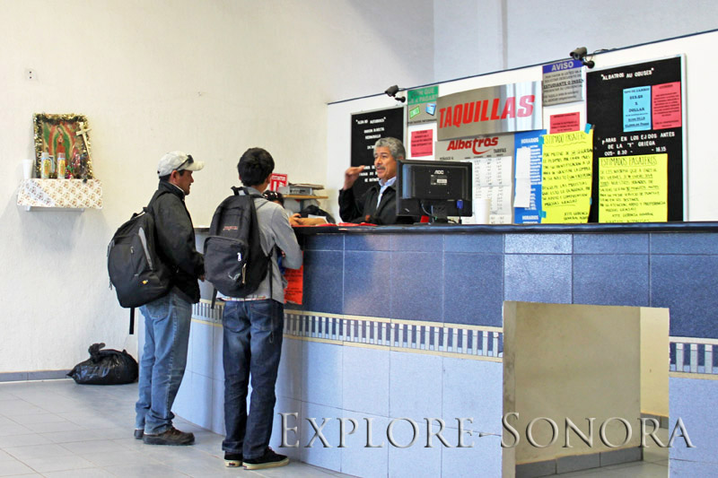 Ticket counter at the Rocky Point bus station