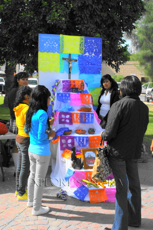 A Sonora Day of the Dead ofrenda, altar made by students in Caborca
