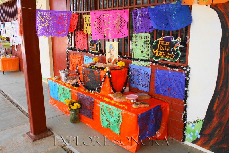 "Day of the Dead ""manda,"" or altar, at a Sonora preschool"