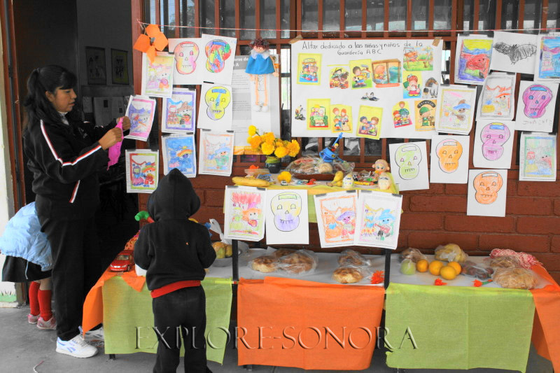A Sonora Day of the Dead ofrenda, altar made by kindergarten students in Caborca