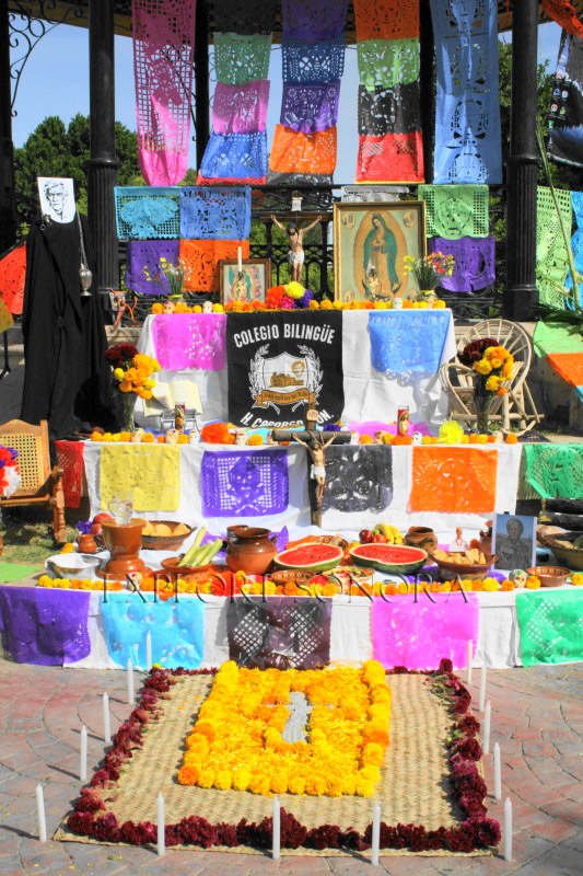 An altar created by students of the Colegio Bilingue in Caborca, Sonora