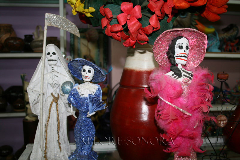 Day of the Dead Catrina art in a Nogales curio shop