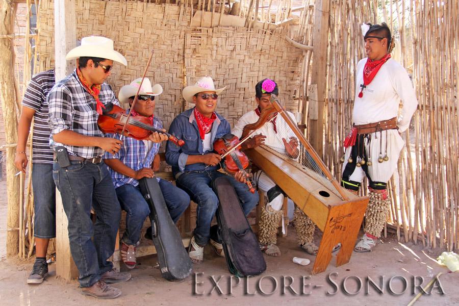 Pascola dancer and musicians - El Júpare, Sonora