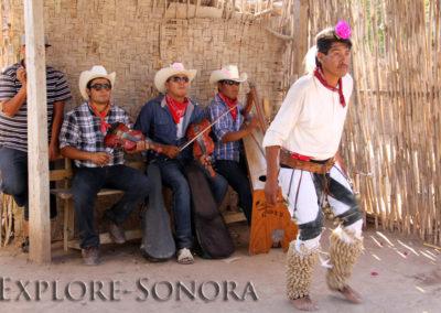 Pascola dancer and musicians in El Júpare, Sonora, Mexico