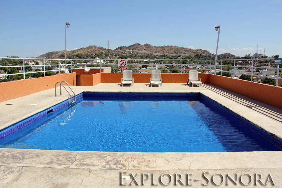 Rooftop pool at the Hotel Plaza del Sol in Hermosillo, Sonora, Mexico