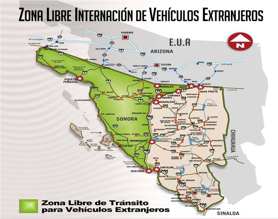 Map of the Sonora Free Zone. Source: Servicio de Administración Tributaria (SAT)