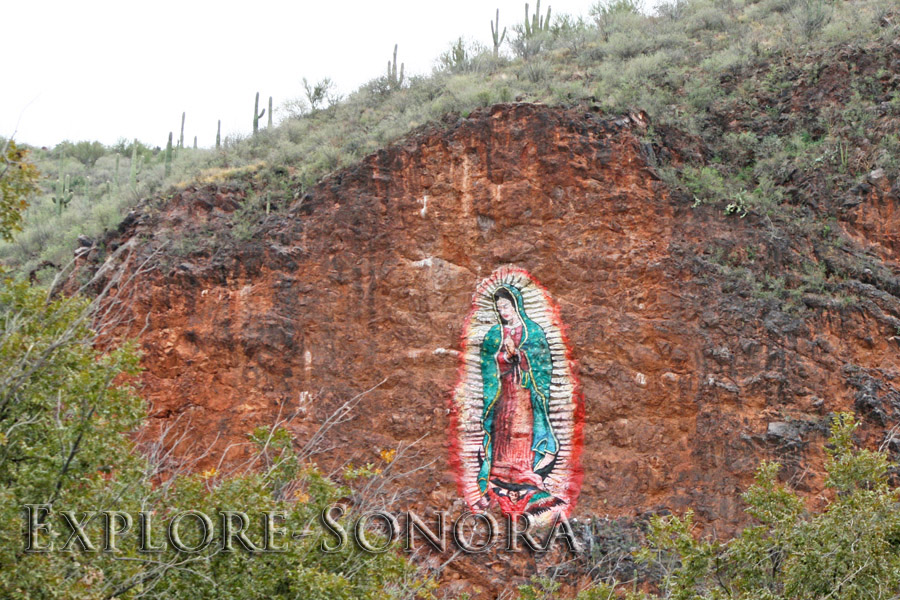 Magnificant hillside painting of the Virgin of Guadalupe, near Magdalena, Sonora, Mexico