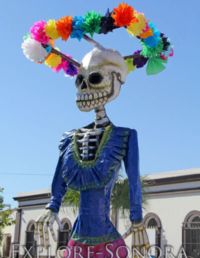 Decorative catrina at the Festival de la Calaca in Guaymas, Sonora