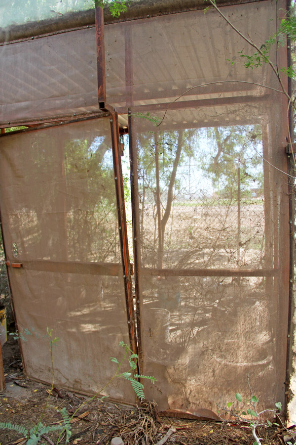 Damage from the break-in at he cuatro espejos butterfly conservatory in El Jupare, Sonora, Mexico
