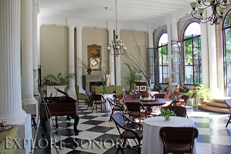 Dining room of the Alamos Hotel Colonial in Alamos, Sonora, Mexico
