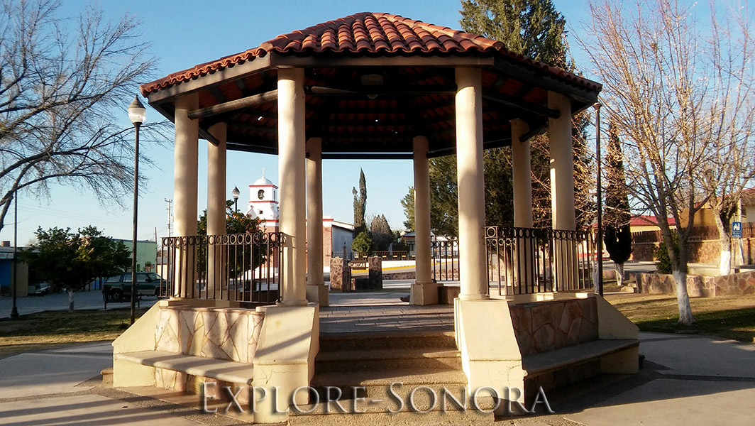 The town plaza of Bacoachi, Sonora, Mexico