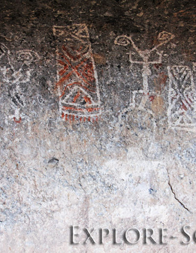 Ancient rock-art petroglyphs near the Northern Sonora town of Cucurpe, Sonora, Mexico