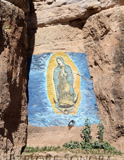 Rock painting of the Virgin of Guadalupe, near the Northern Sonora town of Cucurpe, Sonora, Mexico